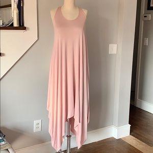 Flowy rose/pink dress with asymmetrical hem